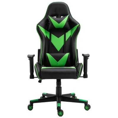 Thunderbolt PU Leather Gaming Chair, Black / Green