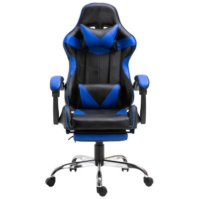 Vebitro PU Leather Gaming Chair with Telescopic Footrest, Black / Blue