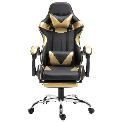 Vebitro PU Leather Gaming Chair with Telescopic Footrest, Black / Gold
