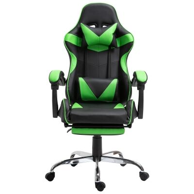 Vebitro PU Leather Gaming Chair with Telescopic Footrest, Black / Green