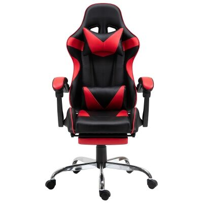 Vebitro PU Leather Gaming Chair with Telescopic Footrest, Black / Red