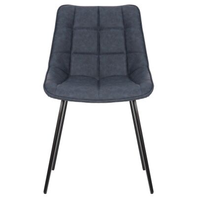 Lada Commercial Grade Faux Leather Dining Chair, Navy