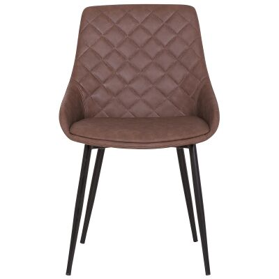 Lago Commercial Grade Faux Leather Dining Chair, Brown