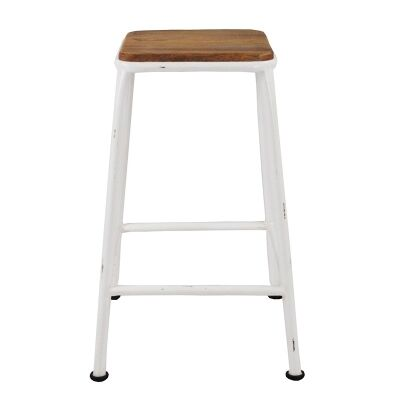 Hunston Metal Counter Stool with Timber Seat,  Whie