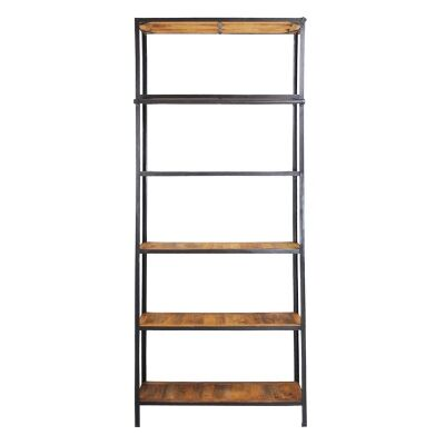 Alford Industrial 6 Tier Timber Top Metal Frame Display Shelf