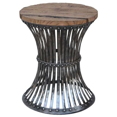 Waverton Handcrafted Iron Stool with Timber Seat