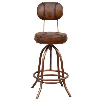 Baseball Industrial Leather & Iron Adjustable Bar Chair