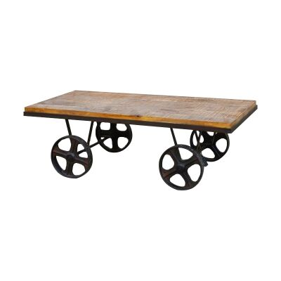 Bowers Industrial Timber Topped Iron Coffee Table on Wheels, 120cm
