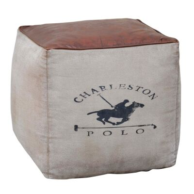 Charleston Polo Recycled Canvas Square Ottoman