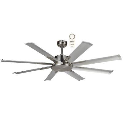 """Martec Albatross Mini Indoor / Outdoor DC Ceiling Fan with Remote, 165cm/65"""", Brushed Nickel"""