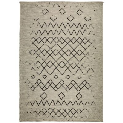 Magic No.304 Modern Tribal Indoor / Outdoor Rug, 120x80cm, Silver