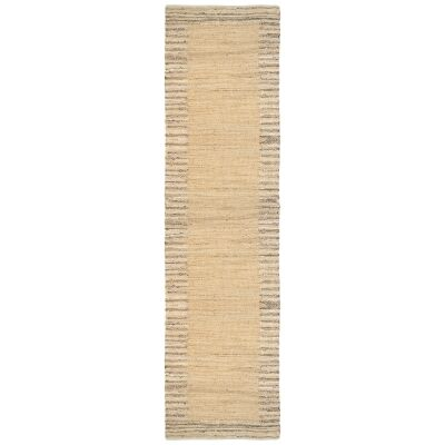 Mahal Handmade Reversible Jute & Cotton Runner Rug, 80x400cm, Beige
