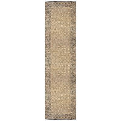 Mahal Handmade Reversible Jute & Cotton Runner Rug, 80x400cm, Black