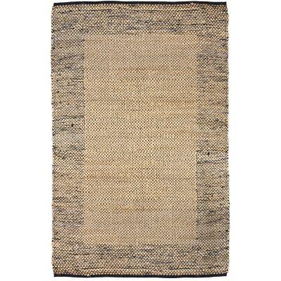 Mahal Handmade Reversible Jute & Cotton Rug, 150x220cm, Black