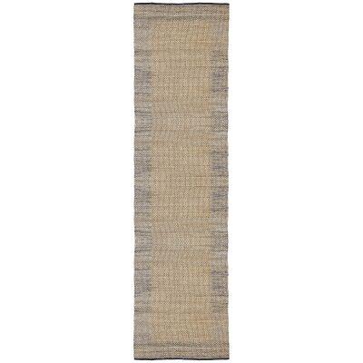 Mahal Handmade Reversible Jute & Cotton Runner Rug, 80x400cm, Blue