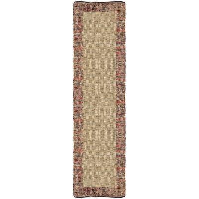 Mahal Handmade Reversible Jute & Cotton Runner Rug, 80x400cm, Red