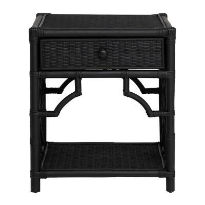 Maison Rattan Bedside Table, Black
