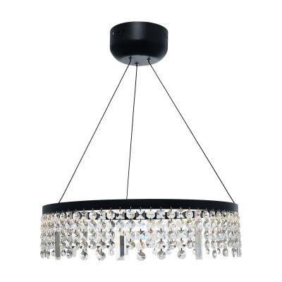 Majestic Crystal Droplet LED Pendant Light, Large, Black