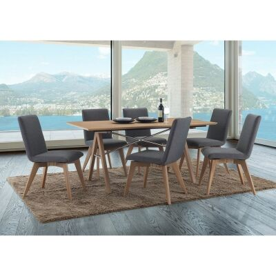 Royce 7 Piece American Oak Timber Dining Table Set, 167cm, Grey Chairs