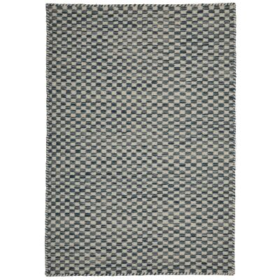 Madrid Handcrafted Modern Wool & Cotton Rug, 225x155cm, Blue / Ivory
