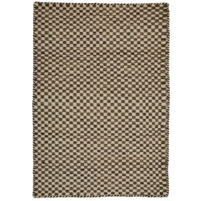 Madrid Handcrafted Modern Wool & Cotton Rug, 130x70cm, Brown
