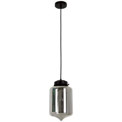 Mason Glass Pendant Light, Tipped, Smoke