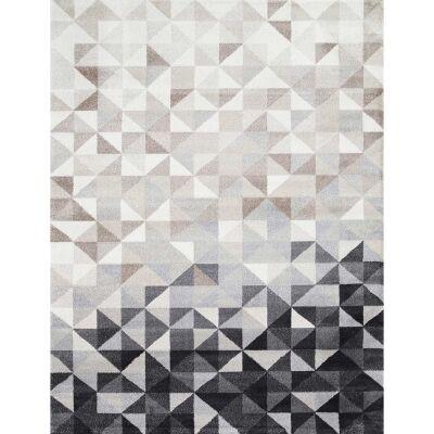 Matisse Triangles Turkish Made Modern Rug, 80x150cm, Charcoal