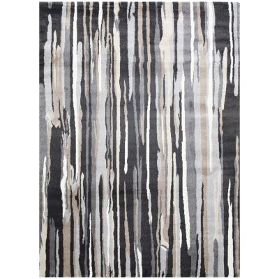 Matisse Vanilla Turkish Made Modern Rug, 150x80cm, Black / Ivory / Grey
