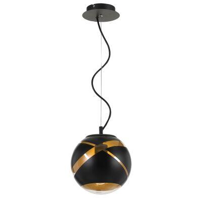 Matrix Glass Ball Pendant Light, Small, Black