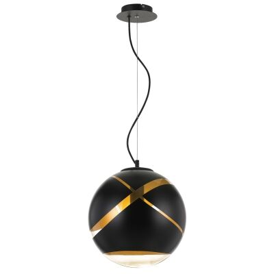 Matrix Glass Ball Pendant Light, Medium, Black