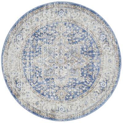 Mayfair Hugo Bohemian Round Rug, 200cm, Ocean Blue