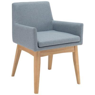 Maya Commercial Grade Fabric Dining Armchair, Aquamarine / Natural