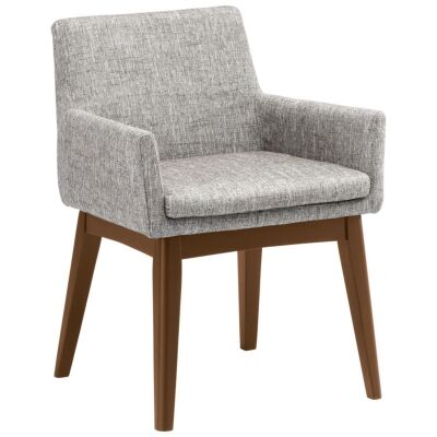 Maya Commercial Grade Fabric Dining Armchair, Pebble / Cocoa