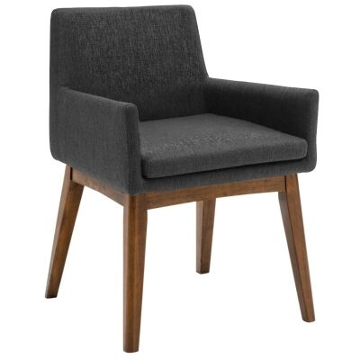 Maya Commercial Grade Fabric Dining Armchair, Mud / Cocoa