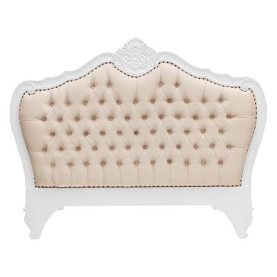 Challuy Hand Crafted Mahogany Upholstered Queen Size Bedhead, White