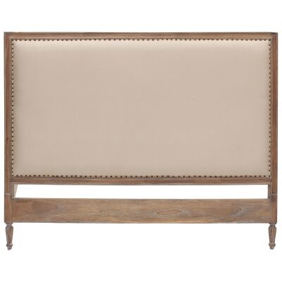 Ygrande Hand Crafted Mahogany Upholstered King Size Headboard, Weathered Oak