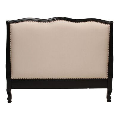 Souvigny Hand Crafted Mahogany Upholstered Queen Size Bedhead - Distressed Black