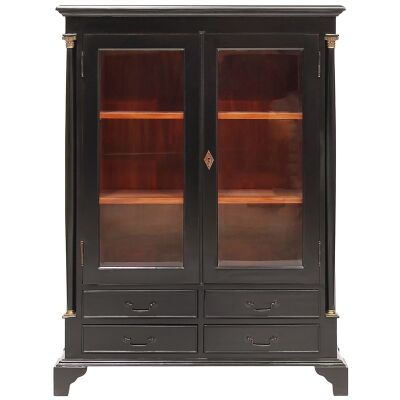 Annonay Hand Crafted Mahogany Display Cabinet - Distressed Black
