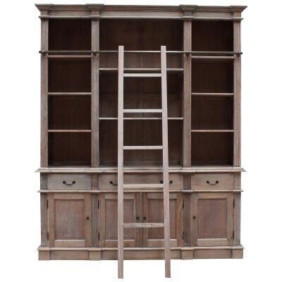 Souvigny Hand Crafted Mahogany Bookcase with Ladder, Weathered Oak