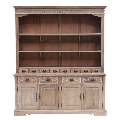 Privas Handcrafted Solid Mahogany Timber Hutch Cabinet, Weathered Oak