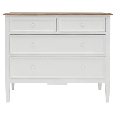 Belley Hand Crafted Mahogany 4 Drawer Dresser, White / Weathered Oak