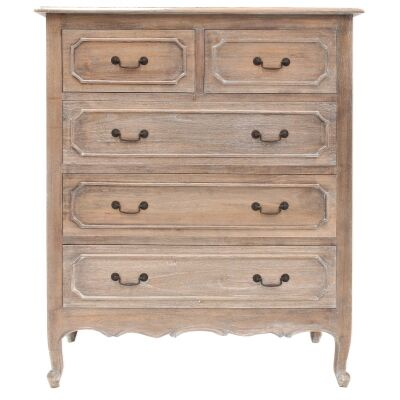 Grandris Hand Crafted Mahogany 5 Drawer Chest, Weathered Oak