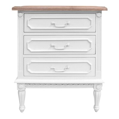 Lapalisse Hand Crafted Mahogany Timber 3 Drawer Bedside Table, White / Weathered Oak
