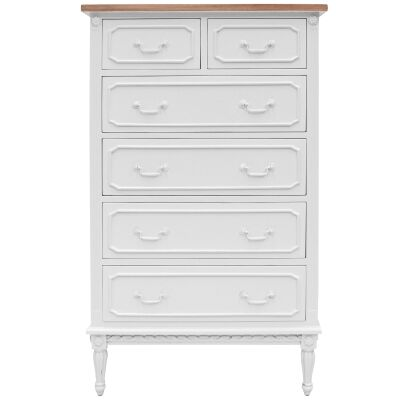Lapalisse Hand Crafted Mahogany Timber 6 Drawer Tallboy, White / Weathered Oak