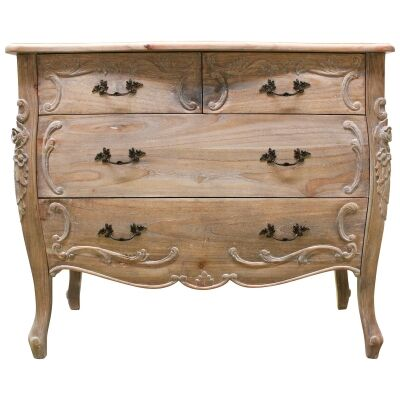 Riom Hand Crafted Mahogany 4 Drawer Chest, Weathered Oak