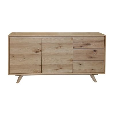 Eklund American White Oak Timber 3 Door Buffet Table, 155cm