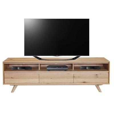 Eklund American White Oak Timber 3 Drawer TV Unit, 180cm