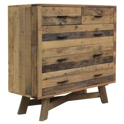 Wheaton Solid Recycled Pine Timber 5 Drawe Tallboy
