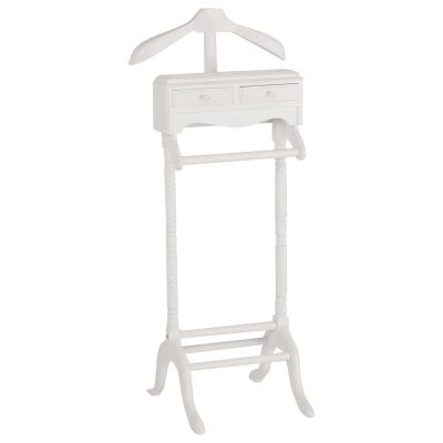 Recco Hand Crafted Mahogany Valet Stand, White