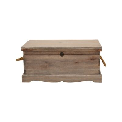 Larajasse Medium Hand Crafted Mahogany Blanket Box, Weathered Oak
